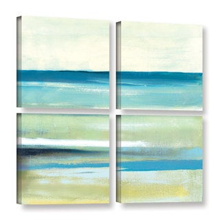 ArtWall Pied Piper's Cool Ocean Abstract I, 4 Piece Gallery Wrapped Canvas Square Set
