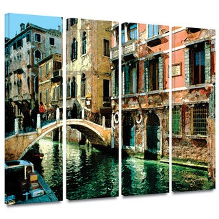 ArtWall George Zucconi's Venice Canal, 4 Piece Gallery Wrapped Canvas Set