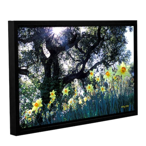 ArtWall Kathy Yates's Daffodils and the Oak, Gallery Wrapped Floater-framed Canvas