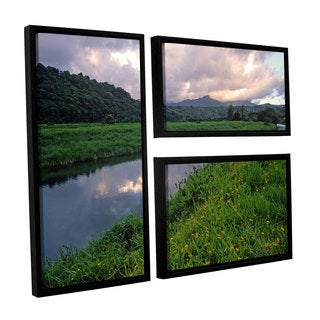 ArtWall Kathy Yates's Hanalei River Reflections, 3 Piece Floater Framed Canvas Flag Set