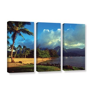 ArtWall Kathy Yates's Golden Light on Hanalei, 3 Piece Gallery Wrapped Canvas Set