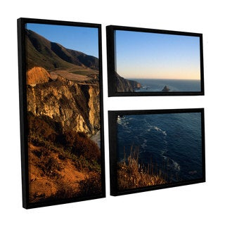 ArtWall Kathy Yates's Golden Glow on Big Sur', 3 Piece Floater Framed Canvas Flag Set