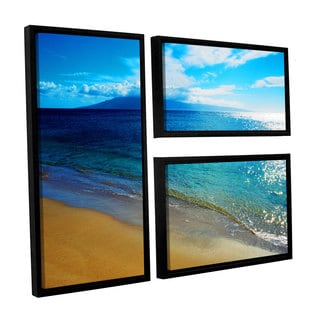 ArtWall Kathy Yates's Blue Hawaii, 3 Piece Floater Framed Canvas Flag Set