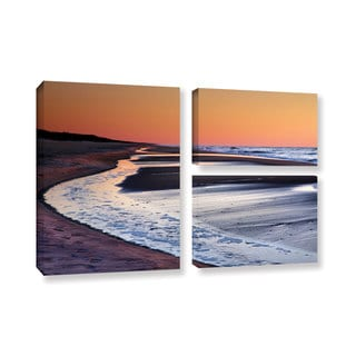 ArtWall Steve Ainsworth's Tide Pools at Sunrise, 3 Piece Gallery Wrapped Canvas Flag Set