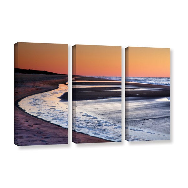 ArtWall Steve Ainsworth's Tide Pools at Sunrise, 3 Piece Gallery Wrapped Canvas Set