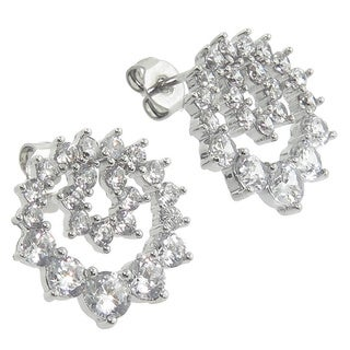 Eternally Haute Rhodium-plated Cubic Zirconia Wreath Stud Earrings