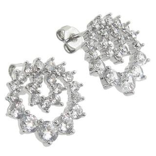 Eternally Haute Rhodium-plated Cubic Zirconia Wreath Stud Earrings