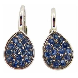 Kabella 14k White Gold Sapphire Tear Drop Leverback Earrings