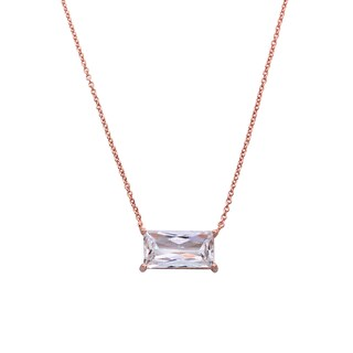Eternally Haute Rhodium-plated or 14k Goldplated Cubic Zirconia Emerald Cut Necklace (3 options available)