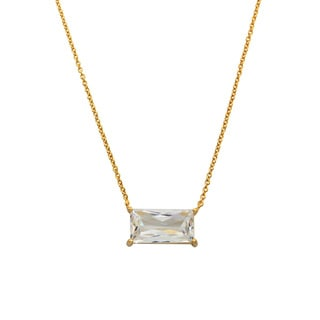 Eternally Haute Rhodium-plated or 14k Goldplated Cubic Zirconia Emerald Cut Necklace