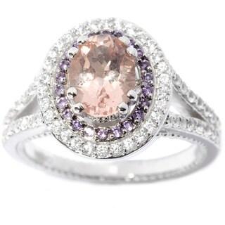 Sterling Silver Morganite, Amethyst, White Zircon Double Halo Ring