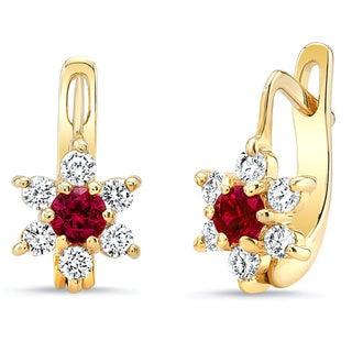 14k Yellow Gold Ruby 1/3ct TDW Diamond Flower Earring (H-I, VS1-VS2)