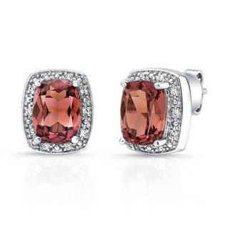 14k White Gold Pink Tourmaline Diamond Accent Earrings (H-I, VS1-VS2)