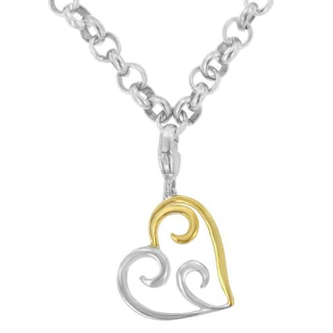 Two-tone Sterling Silver Heart-shaped Pendant Necklace