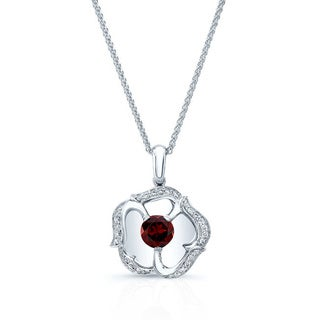 14k White Gold Garnet 1/10ct TDW Diamond Pendant (H-I, VS1-VS2)