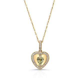 14k Yellow Gold Quartz 1/5ct TDW Diamond Heart Pendant (H-J, SI1-SI2)