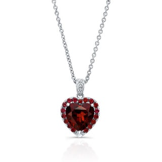 14k White Gold Garnet and Diamond Accent Pendant