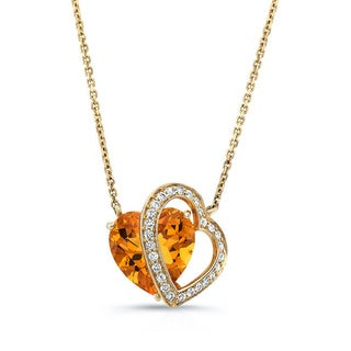 14k Yellow Gold Citrine 1/6ct TDW Diamond Heart Pendant (H-I, VS1-VS2)