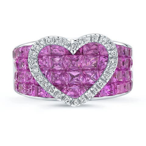18k White Gold Pink Sapphire 1/6ct TDW Diamond Heart Ring Size 5 (H-I, SI1-SI2)