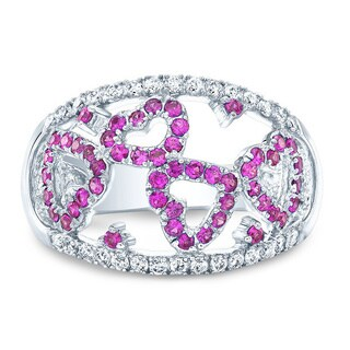 14k White Gold Pink Sapphire 1/3ct TDW Diamond Hearts Ring Size 7 (H-I, SI1-SI2)