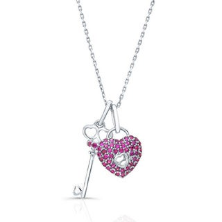 14k White Gold Ruby Lock and Key Pendent