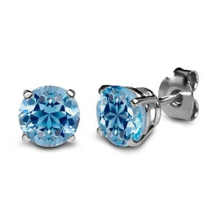 Sterling Silver 6mm Round Ice Blue Topaz Stud Earrings Made with Swarovski Gemstones