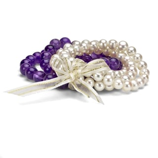 Amethyst Bead and White Freshwater Cultured Round Pearl Bracelet 5-piece Set