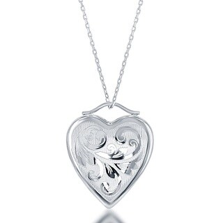 La Preciosa Sterling Silver Floral Design Heart Polished Locket