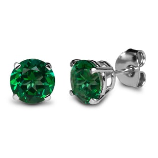 Sterling Silver 6mm Round Rainforest (Emerald) Topaz Stud Earrings Made with Swarovski Gemstones
