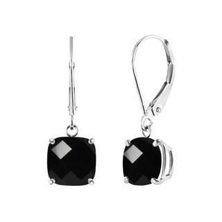 Sterling Silver Black Onyx Leverback Dangle Earrings