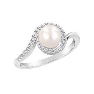 Sterling Silver White Round Freshwater Cultured Pearl and Lab Created White Sapphire Halo Ring