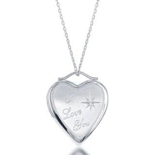 La Preciosa Sterling Silver 'I Love You' Star Heart Locket
