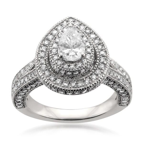 Montebello 14k White Gold 2ct TDW Certified Pear-cut White Diamond Halo Engagement Ring