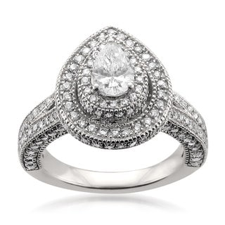 Montebello 14k White Gold 2ct TDW Certified Pear-cut White Diamond Halo Engagement Ring (H-I, I1)