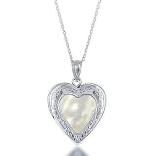 La Preciosa Sterling Silver Mother of Pearl Heart Locket|https://ak1.ostkcdn.com/images/products/11326820/P18303106.jpg?impolicy=medium