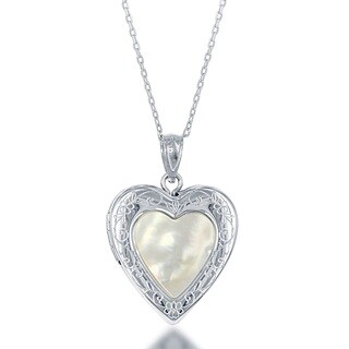 La Preciosa Sterling Silver Mother of Pearl Heart Locket