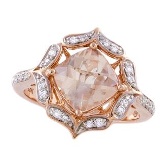 Beverly Hills Charm 14K Rose Gold 1/5ct TDW Diamond and Morganite Ring (H-I, SI2-I1)