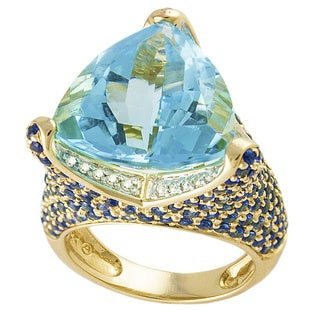 14k Yellow Gold 1/5ct TDW Diamond Blue Topaz and Blue Sapphire Ring (H-I, SI2-I1)