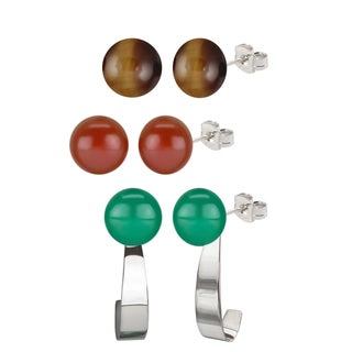 Sterling Silver 8-8.5mm Tiger Eye/ Green Agate and Carnelian Round Button Gemstone Bead Earrings and