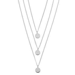 Argento Italia Sterling Silver Disc Layered Necklace