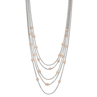 Argento Italia Two-tone Sterling Silver Multi Layer Disc Necklace