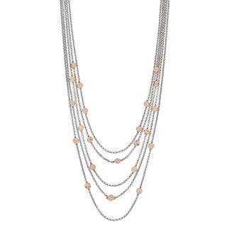 Argento Italia Two-tone Sterling Silver Multi Layer Disc Necklace