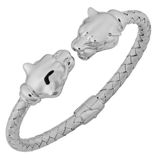 Argento Italia Rhodium Plated Sterling Silver Double Panther Heads Weave Hinged Bangle