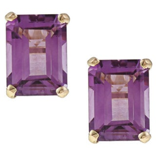 Kabella 14k Yellow Gold Amethyst Emerald Cut Stud Earrings