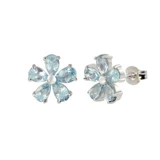 Sterling Silver Pear Shape Blue Topaz Flower Earrings