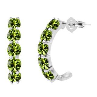 Sterling Silver Round Peridot J-Hoop Earrings