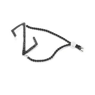 Sterling Silver Black Spinel Alphabets Initial Adjustable Cord Bracelet