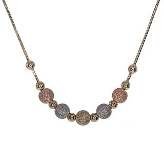 Decadence 14k Tri-tone Gold Beaded Frontal Necklace