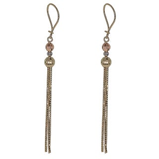 Decadence 14k Tri-tone Gold Disco Cut Dangling Bead Earrings