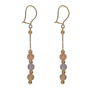 Decadence 14k Yellow Gold Multi-color Beaded Dangling Earrings